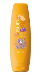 Vysoce voděodolné oranžové mléko na opalování pro děti SPF 50